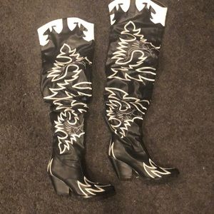 Black and white western inspired thigh high boots